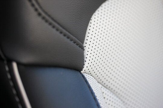 Close up of a leather car seat