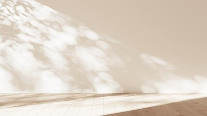 Mock-up of white empty room and light wood laminate floor with sun light cast the shadow on the wall, Perspective of minimal inteior design architecture, 3D rendering, 3D illustration