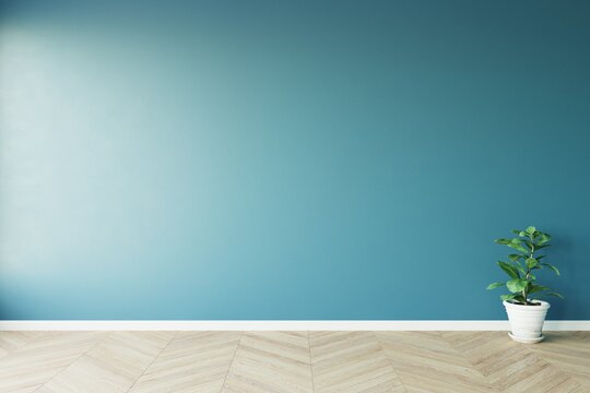 View of sun light cast the shadow on blue empty blue wall and light wood laminate floor with white ceramic vase of green plant. 3D illustration