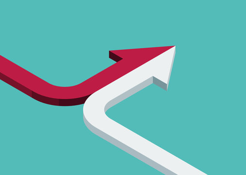 Bent isometric arrow of two red and white ones merging on turquoise blue background. Partnership, merger, alliance and joining concept. 3D illustration