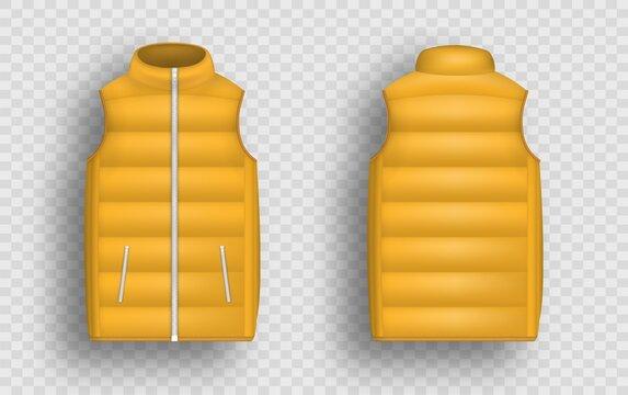 Orange winter puffer vest, sleeveless jacket mockup set, vector illustration. Realistic down vest, front and back view.