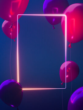 Blank neon banner with balloons. High quality 3d illustration