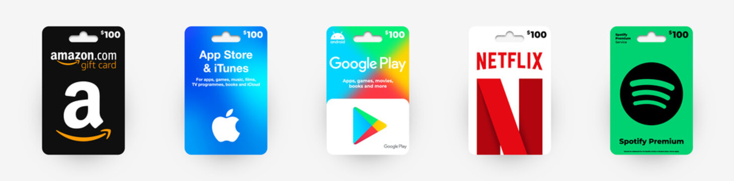 Realistic vector gift card set of 5 popular online services.