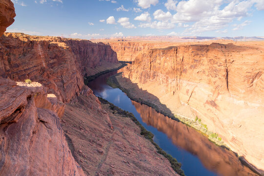 Glen Canyon Dam on the Colorado River in northern Arizona, United States, near the town of Page