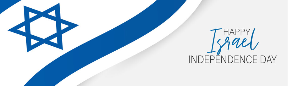 Israel Independence Day banner or site header. National holiday design template. Israeli symbolics background with blue and white waving flag. Vector illustration.