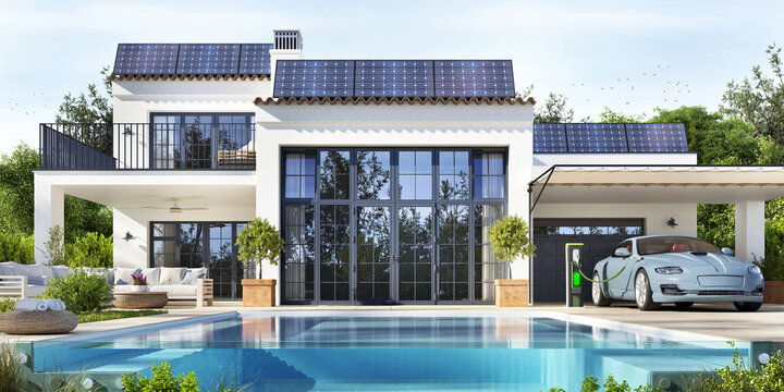 Luxury house with a beautiful pool. Solar panels on the roof and electric vehicle