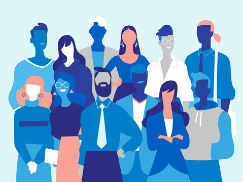 Squadra di giovani professionisti di successo fatta di uomini e donne