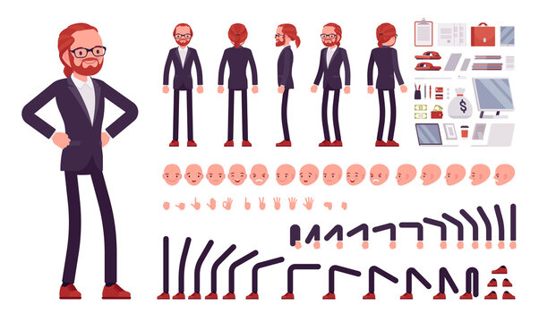 Businessman, red haired office worker construction set. Manager, administrative person, corporate employee dress code and objects. Cartoon flat style infographic illustration, different emotions