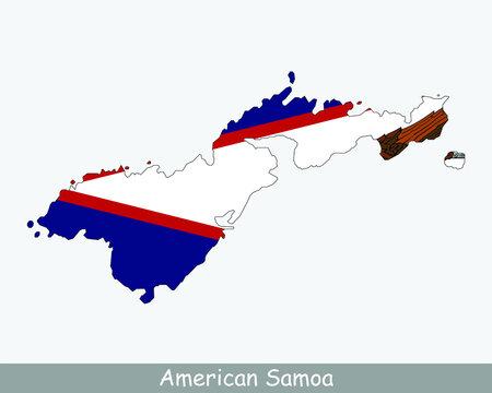 American Samoa Map Flag. Map of American Samoa, USA with the flag of American Samoa isolated on white background. Unincorporated overseas territory of the United States, America, American, United Stat