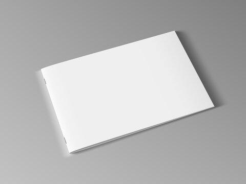 3D Blank Landscape Horizontal Brochure Or Magazine