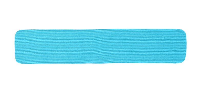 Light blue kinesio tape piece on white background, top view
