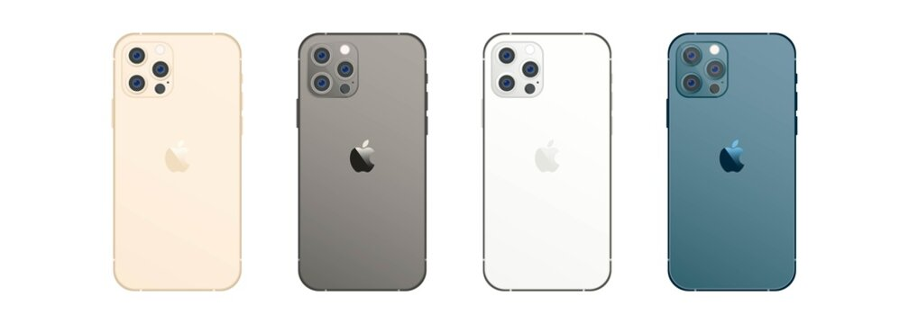 Iphone 12 pro max mock up set. Realistic smart phone set. UI UX white user interface. Kyiv, Ukraine - March 30, 2021