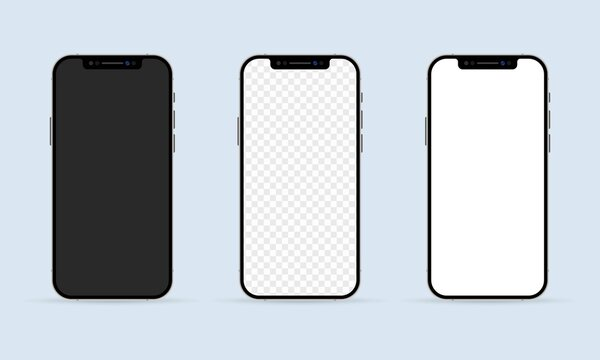 Realistic smartphone screen mockup set. Phone frame with blank display templates. Mobile device concept. Vector EPS 10. Isolated on white background