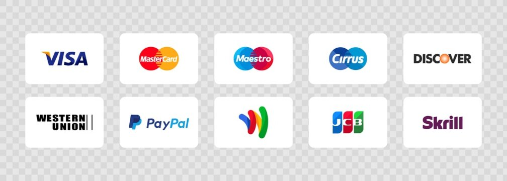 Payment system logos: Maestro, PayPal, JCB, Apple Pay, Google Pay, Mastercard, Visa, Amazon, Skrill, Western Union, Google Wallet, Cirrus. Vector EPS 10. Kiev, Ukraine - March 30, 2021