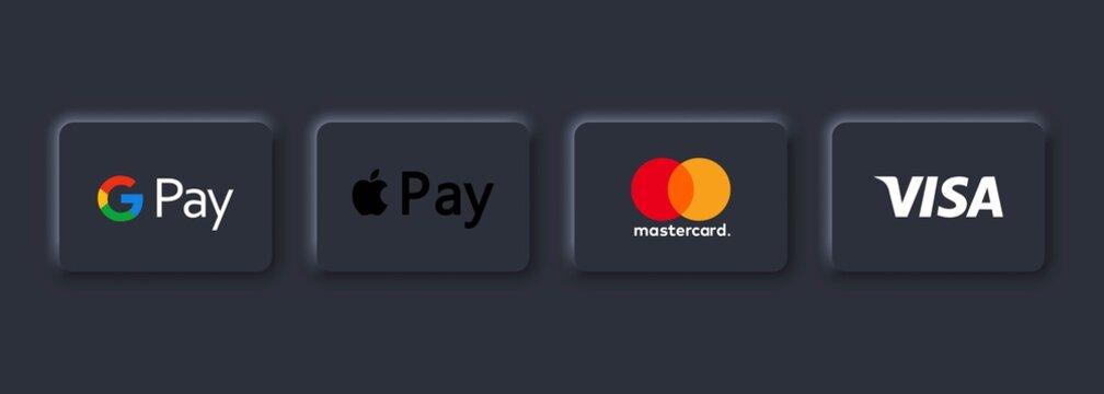 Payment system logos: Mastercard, Visa, Apple pay, Google pay. Neumorphic UI UX white user interface. Neumorphism style. Vector. Kiev, Ukraine - March 30, 2021