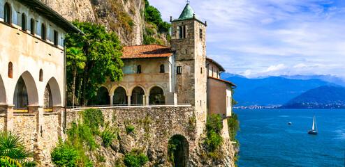 Picturesque monastery Eremo di santa Caterina , beautiful lake Lago Maggiore. Italy ,Northern part
