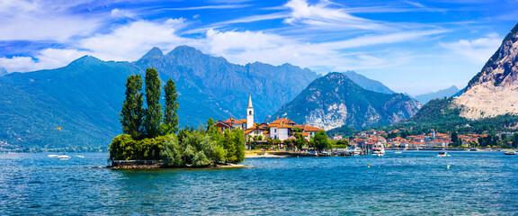 Beautiful romantic lake Lago Maggiore - view of island