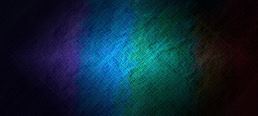 Empty dark abstract colorful diamond plate texture background wall and studio room interior texture for display products wall backgroun.illustration