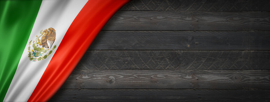 Mexican flag on black wood wall banner