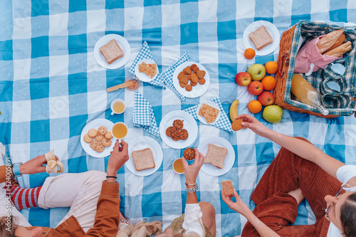 Top view of a family picnic celebrating Mother's Day with their son and daughter, while they enjoy a sunny day eating healthy food