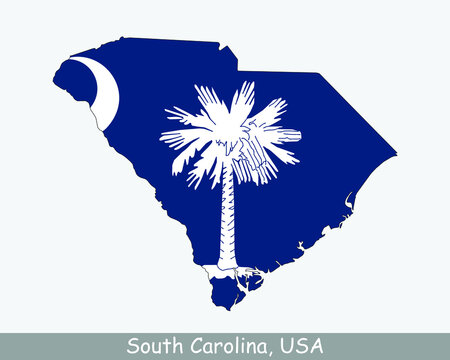 South Carolina Map Flag. Map of SC, USA with the state flag isolated on a white background. United States, America, American, United States of America, US State. Vector illustration.