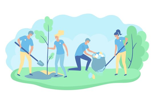 Volunteers cooperating together and cleaning up city park, they are collecting and separating waste, environmental protection concept. Vector illustration.