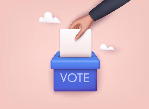 Hand puts voting ballot in ballot box. Election concept. 3D Web Vector Illustrations.
