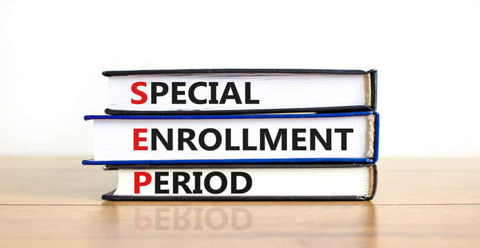 SEP, special enrollment period symbol. Books with words 'SEP, special enrollment period'. Beautiful white background, copy space. Business, medical and SEP, special enrollment period concept.