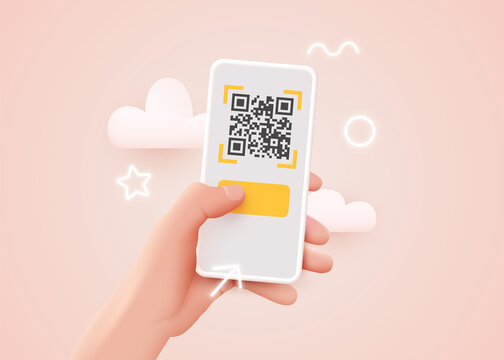 Scanning QR code with mobile smart phone. Qr code payment, E wallet , cashless technology concept.