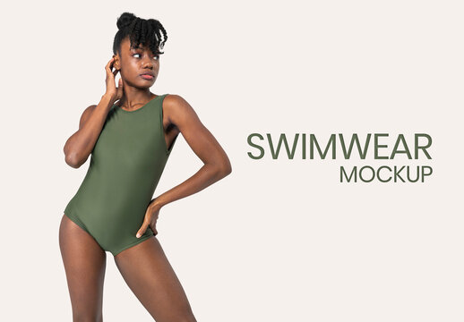 Black Woman Wearing Swimsuit Mockup