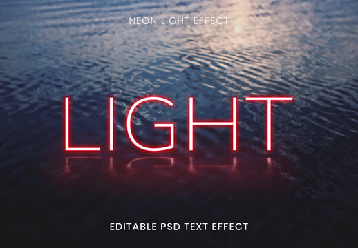 Light Red Neon Word Text Effect