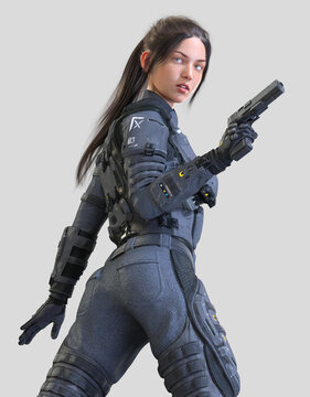 Police Woman in Action - Futuristic