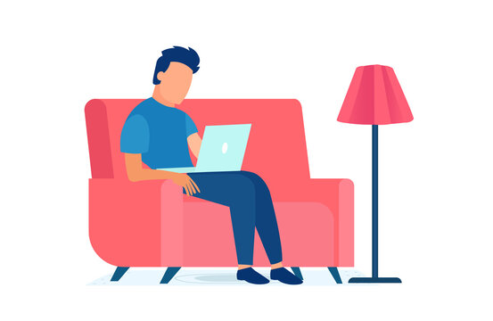 Vector of a young man sitting in armchair at home using laptop computer