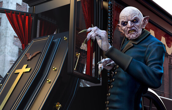 Vampire with Coffin and Hearse
