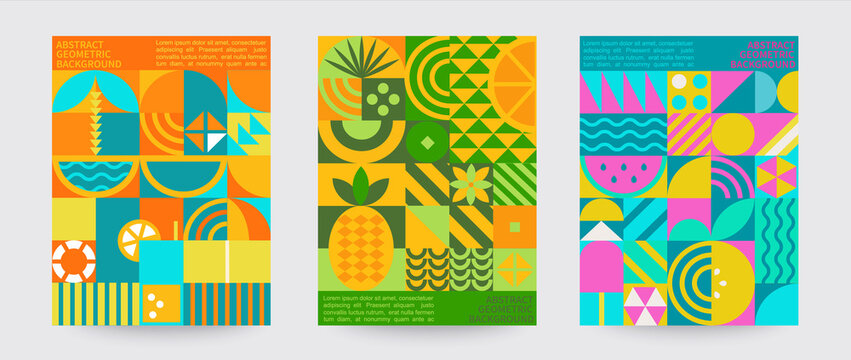 Geometric summer backgrounds with simple shapes and figures forming sunglasses,drink,orange,watermelon,pineapple,ice cream and other summer symbols.Posters,flyers,banners for covers,web,print.Vector.