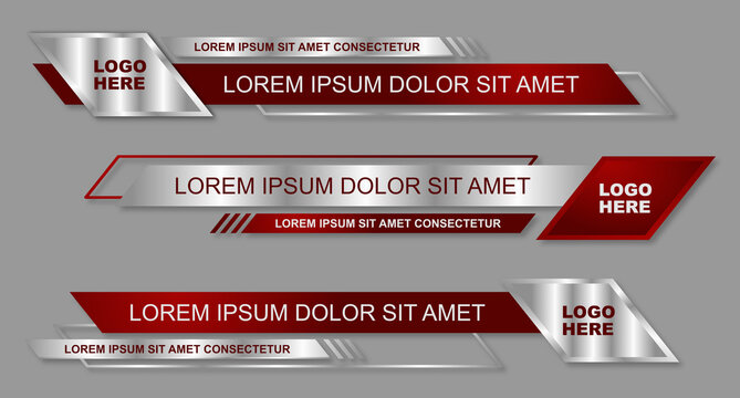 Modern geometric lower third banner template design. Colorful lower thirds set template vector. Vector illustration