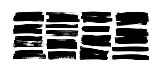 Obraz Set of grunge rectangles and stripes template backgrounds. Vector black painted rectangular shapes. Hand drawn brush strokes isolated on white. Dirty grunge design frames, borders or template for text - fototapety do salonu