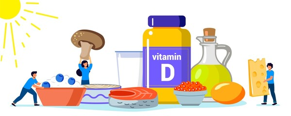 Fototapeta Vitamin D vector illustration Healthy eating and diet Different food rich of vitamin d Organic liver oil supplement and skin synthesis Dietetic organic nutrition Food supplement and health care concep obraz