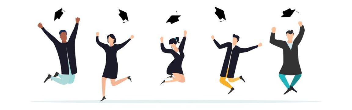 Graduate quarantine. Graduates celebrate 2021 graduation during coronavirus quarantine. Boys and girls having fun jump and toss up mortarboards and diplomas. Vector.