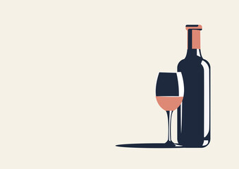 Vector illustration of a bottle of wine and a glass. There is space for text nearby