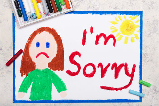 Colorful drawing: Sad woman and words: I'm sorry