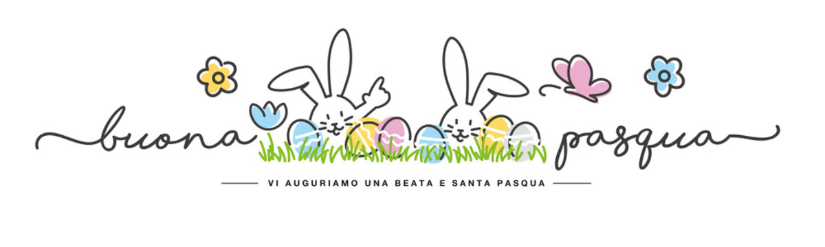 Happy Easter we wish you a holy and blessed Easter on Italian language handwritten art line design of cute smiling Easter bunny and colorful eggs in grass egg hunt on white background