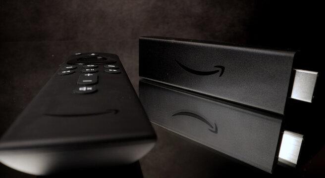 Amazon Fire TV Stick 4k in close-up - FRANKFURT, GERMANY - MARCH 29, 2021