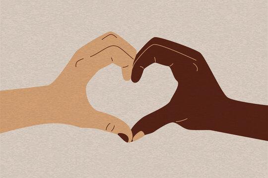 Stop racism flat sign. White black hands heart shape, diversity equality concept. Vector illustration