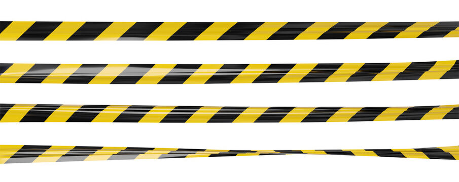 Realistic vector crime tape with black and yellow stripes. Warning ribbon.