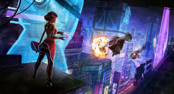 girl with katana in a cyberpunk city