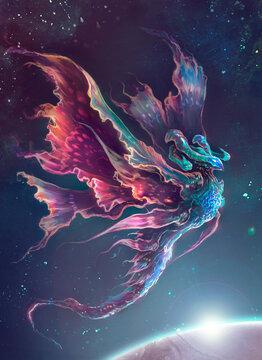 créature interstellaire ailée luminescente