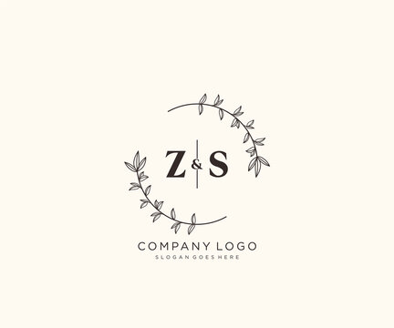 initial ZS letters Beautiful floral feminine editable premade monoline logo suitable for spa salon skin hair beauty boutique and cosmetic company.