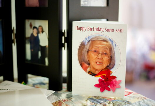A birthday card to Sakaguchi, 94, sits on her dresser at Nikkei Manor, an assisted living facility in Seattle