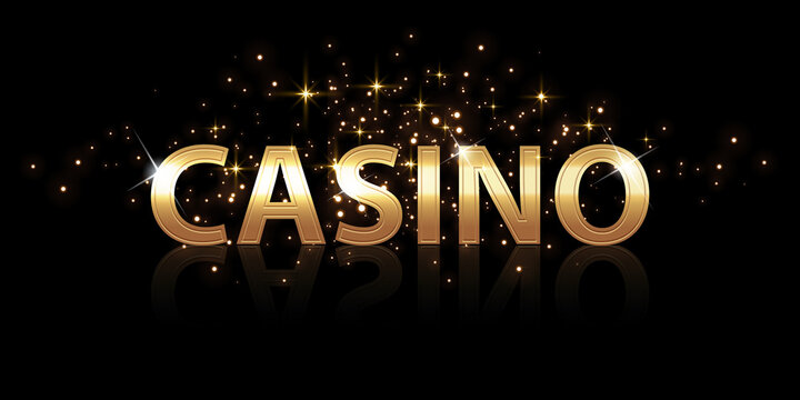 Vector gold text template Casino with illustration. Luxurious font.